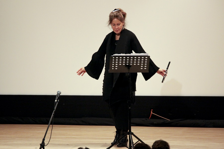 Camilla Hoitenga takes a bow following a performance of Dolce tormento for solo piccolo