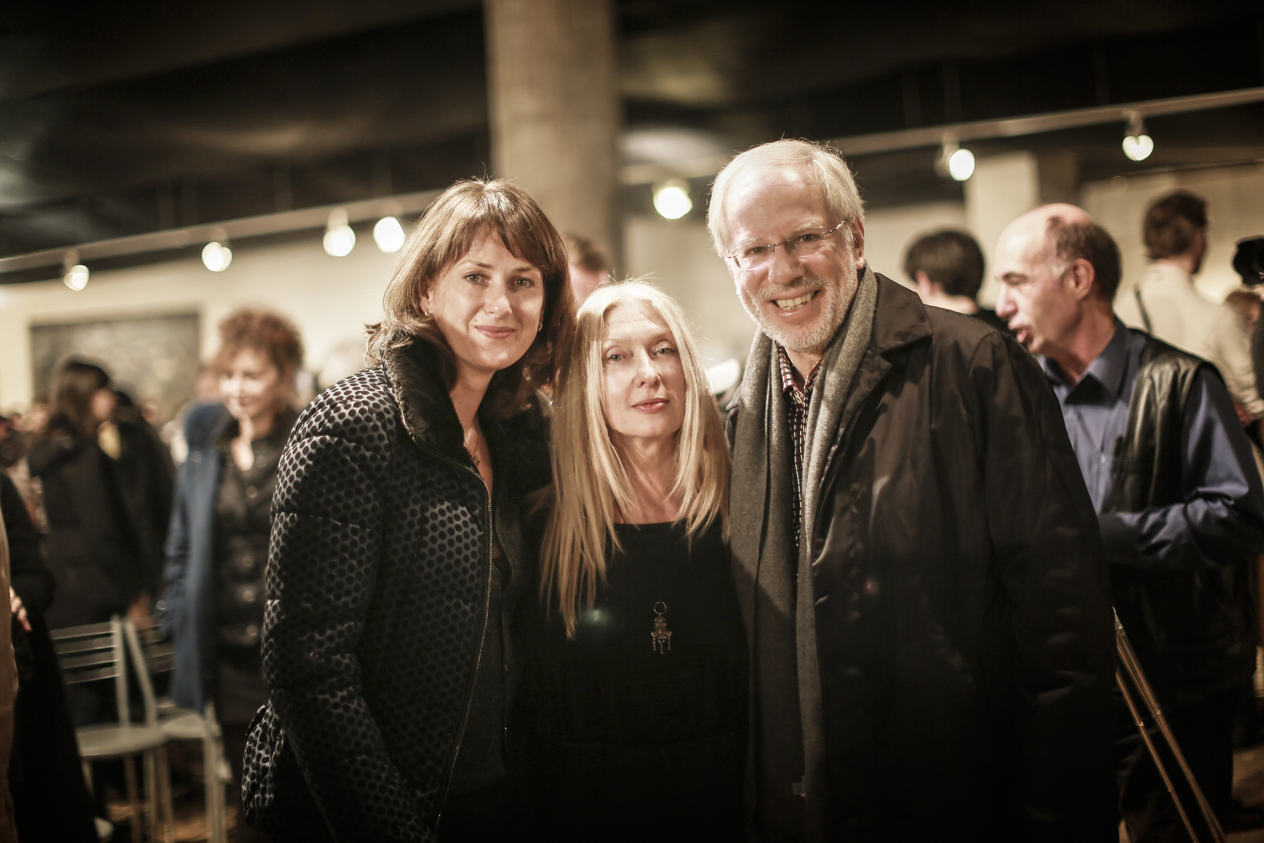 Victoria Polev  á (center) with   Giedre Dirvanauskaite and Gidon Kremer after a performance of  Transforma  in Kiev on November 10, 2014. Photo: Tina Grach.