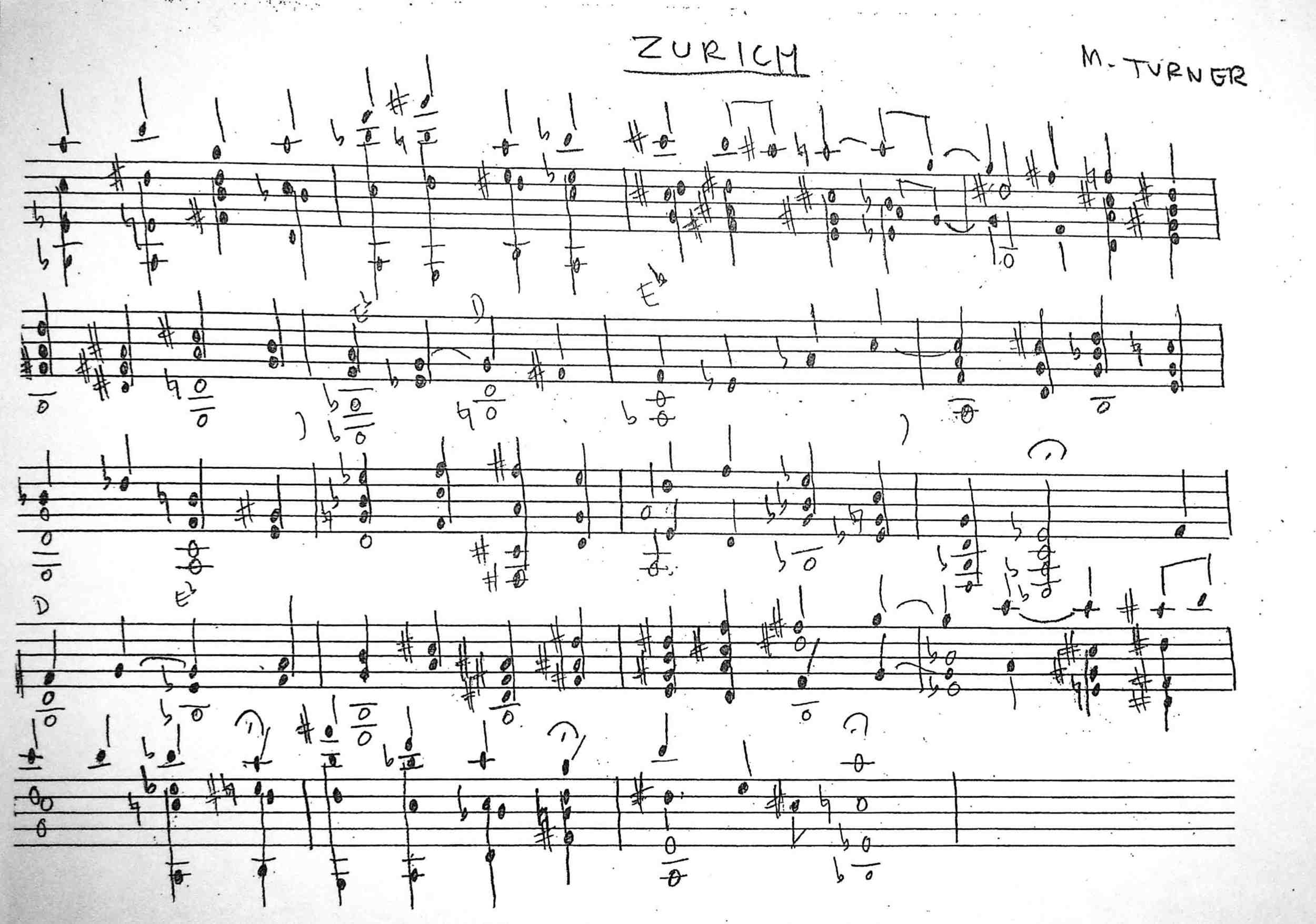 "Handwritten lead sheet for Turner's ""Zurich,"" recorded on his debut album,  Yam Yam"