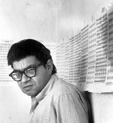 Feldman ca. 1977, with sketches for  Neither , his opera with Samuel Beckett