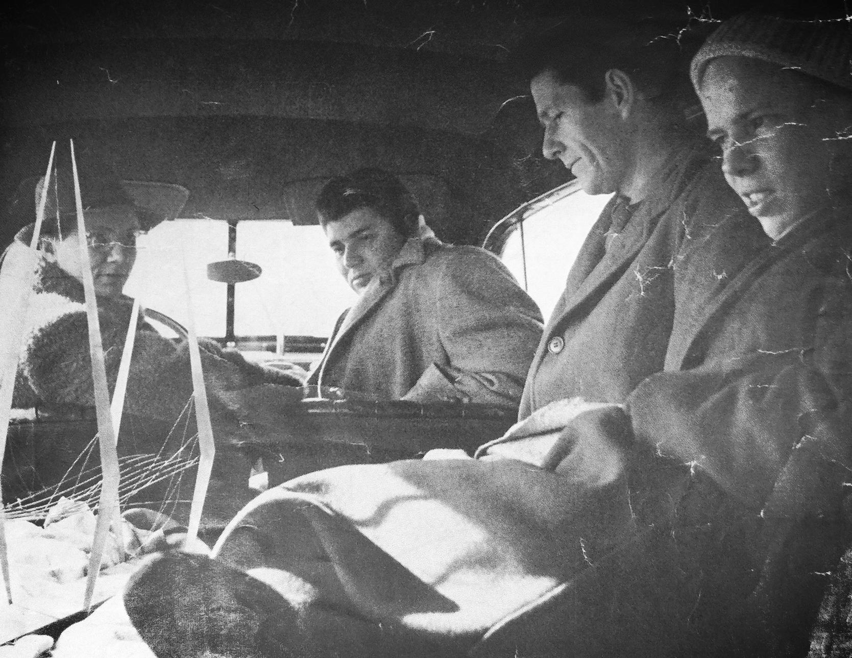 (l-r)  Richard   Lippold ,  Morton Feldman ,  John Cage , &  Ray Johnson , 1952