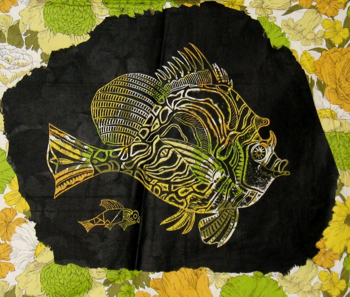 Kent made ingenious use of fabric patterns, as with this print, where some Victorian flowers are made into the scales of a tropical fish.