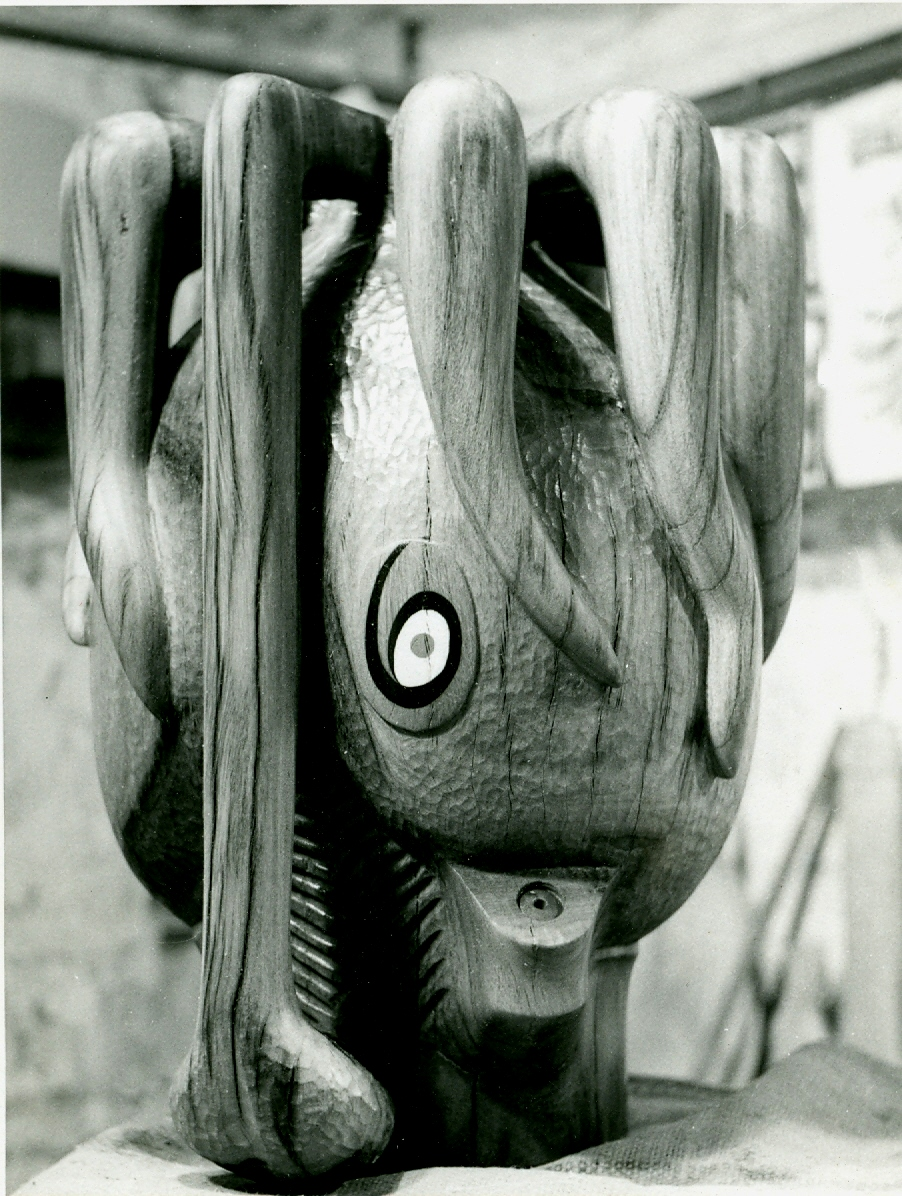 Eyes he tended to paint onto his sculptures, as can be seen from this squid head.
