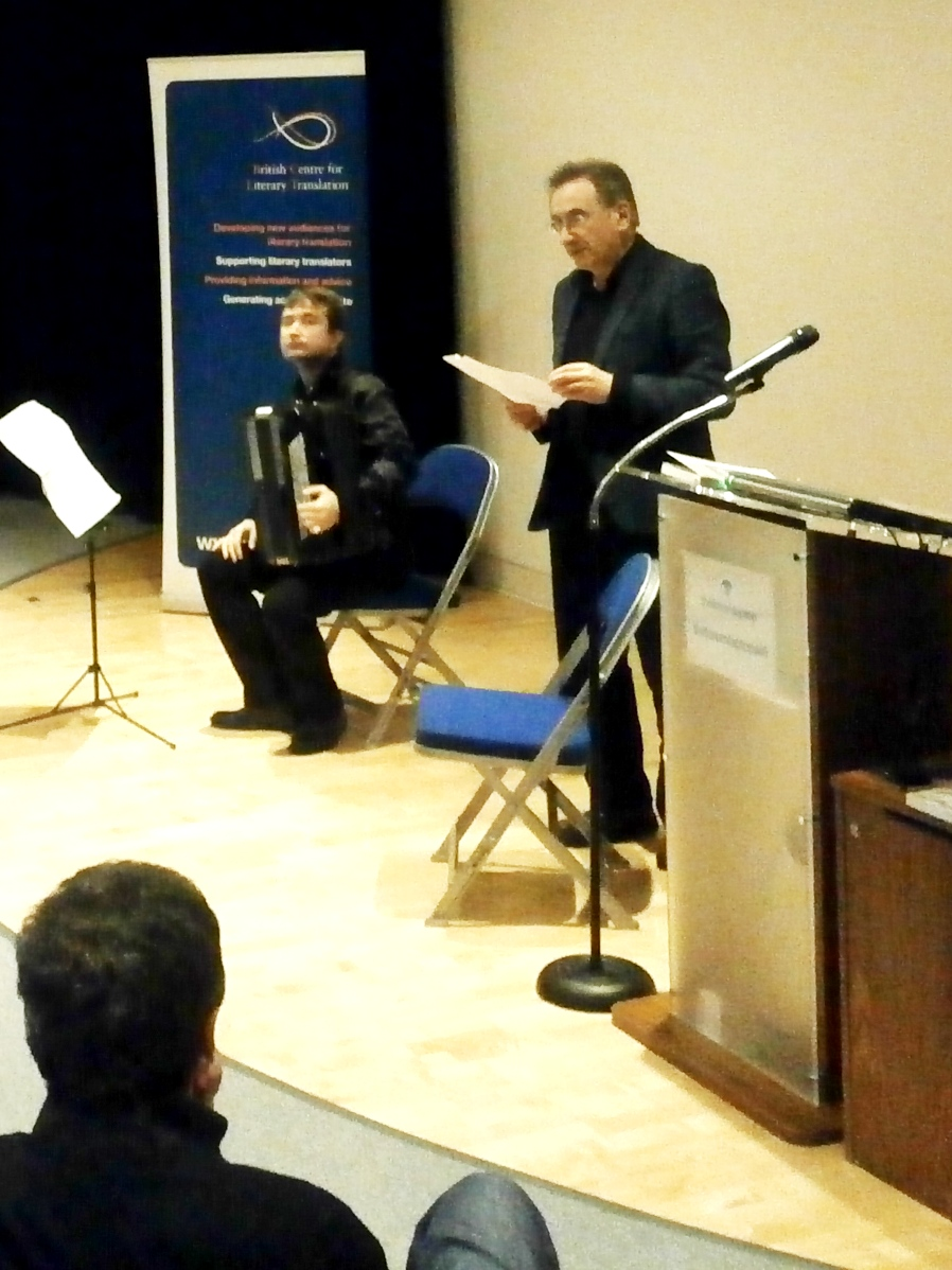 "Roman Yusipey (L) with his accordion as George Szirtes (R) reads ""Three Improvisations on Music"""