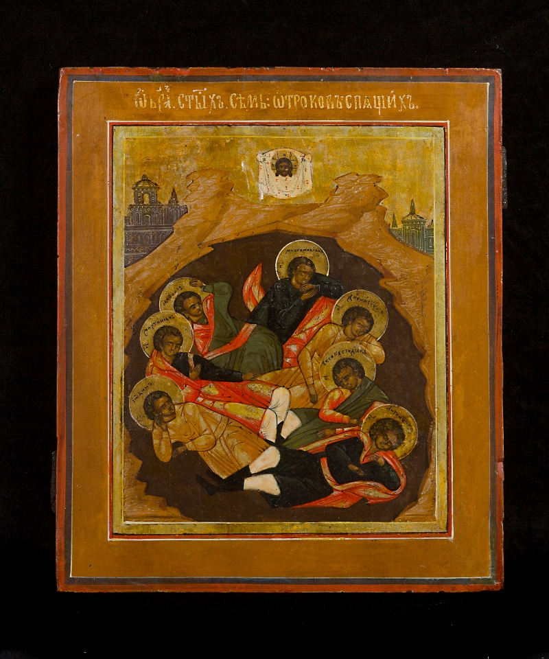 A Russian icon of the Seven Sleepers of Ephesus, ca. 1800. Courtesy of the Mark Gallery, London.