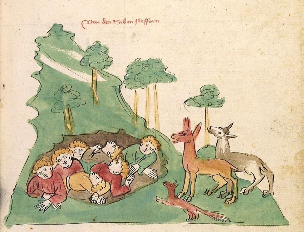 Two deer and a fox visit the Seven Sleepers in an Alsatian manuscript illustration, ca. 1418. Courtesy of the University of Heidelberg.