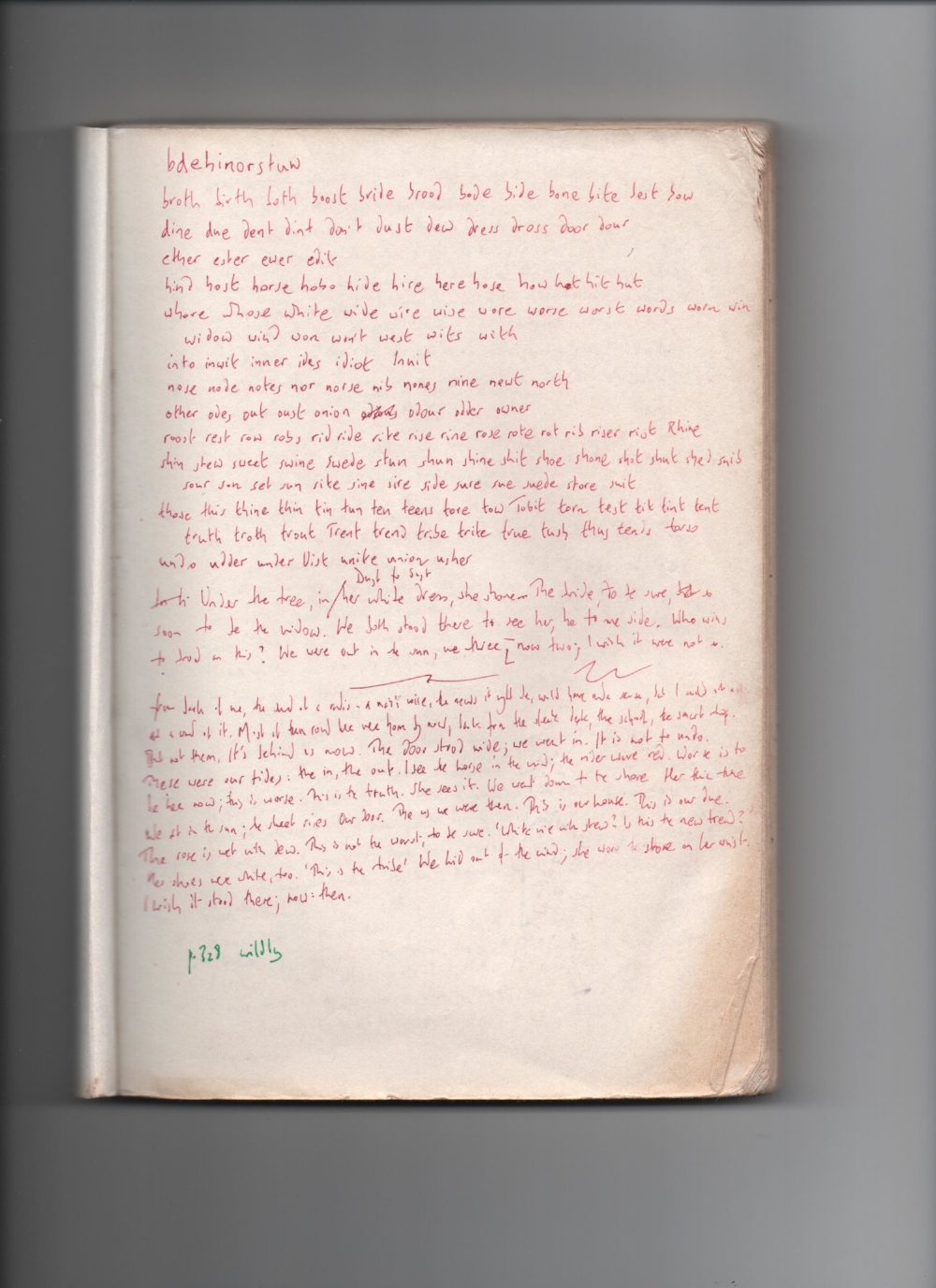 "A notebook page developed during the creation of ""I went to the house but did not enter."" Courtesy of Paul Griffiths."