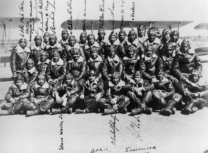 A photograph of all of the instructors of the 66th Army Air Forces Flight Training Detachment. Lewis Jackson, who was director of training for the detachment,is seated in the front row, center. Circa 1942. Courtesy of Mark Turner and his family.