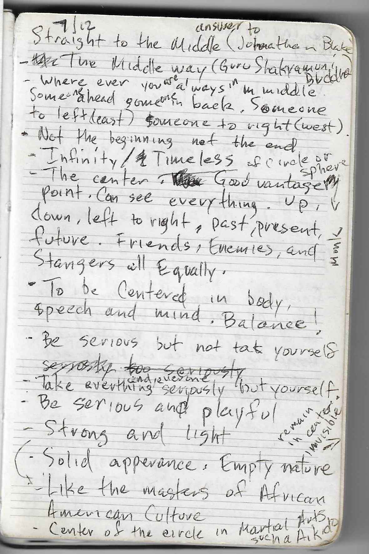A page from Mark Turner's notebooks, dated July 2012. Courtesy of Mark Turner.