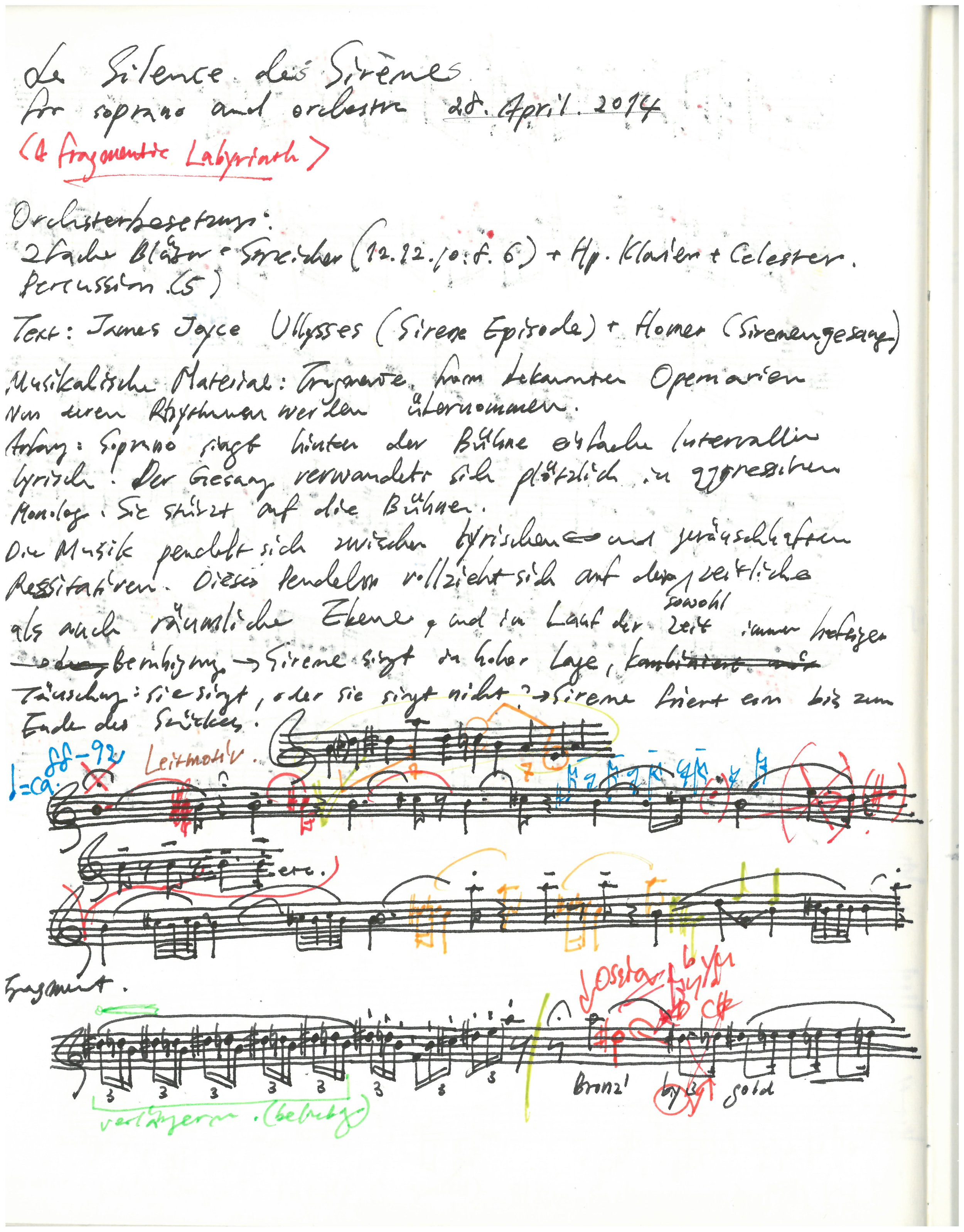 From the working manuscript of  Le Silence des Sirènes  for soprano and orchestra. Courtesy of Unsuk Chin.