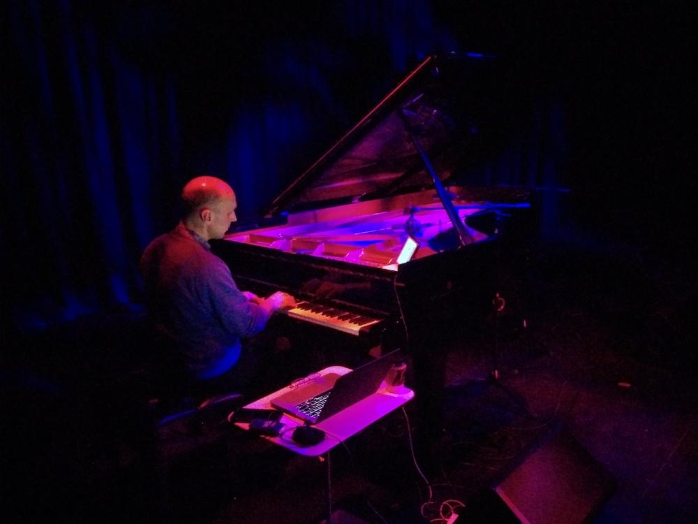 Hans Tutschku performs at Rice University. Photo courtesy Kurt Stallmann.