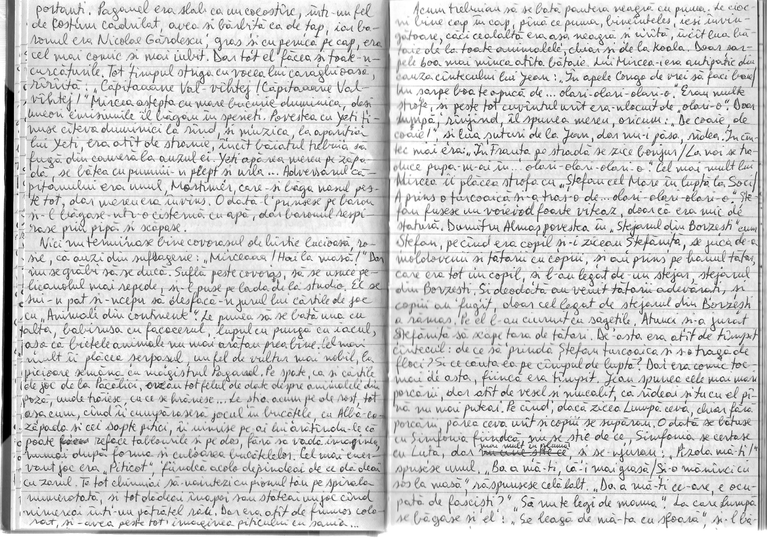 A manuscript page from the notebooks of Mircea Cărtărescu. Courtesy of the author.
