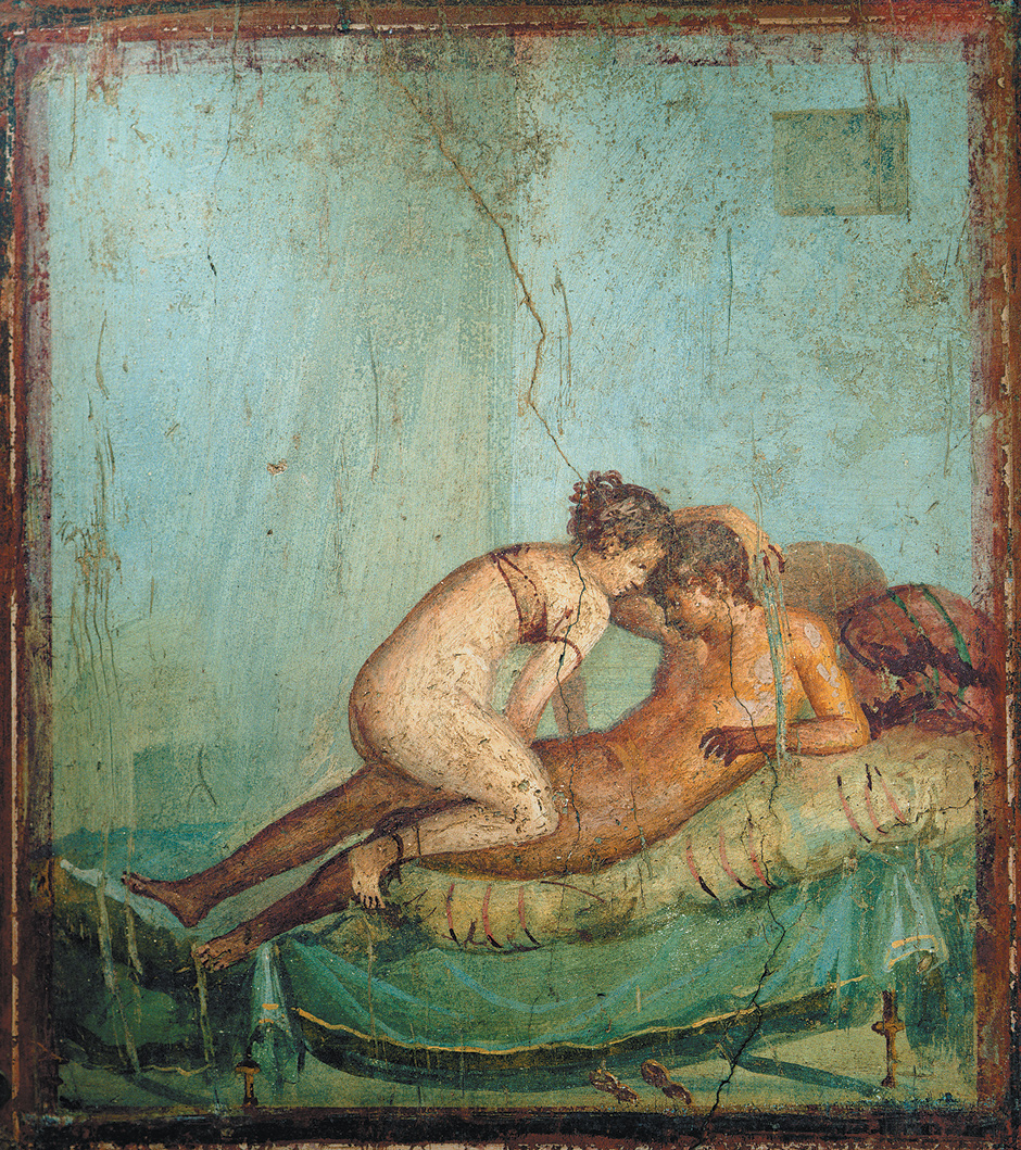 An erotic fresco from the bedroom of a house in Pompeii. Public domain, via    Wikimedia Commons   .
