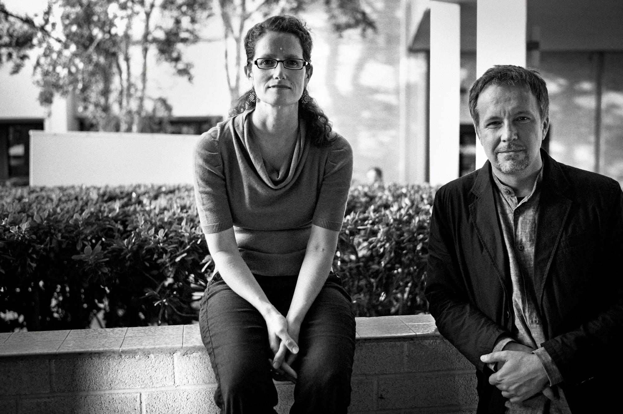 Mira Rosenthal with Tomasz Różycki. Photo: Slav Zatoka