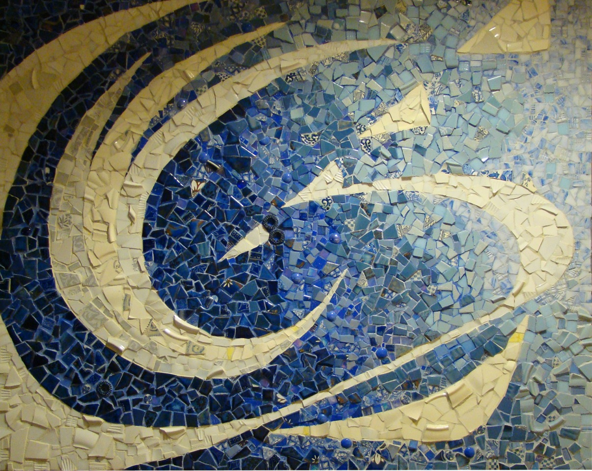 """Penn State Great Valley Conference Center Community Mosaic (40"""" x 33"""", china, glass, ceramic, 2013)"""