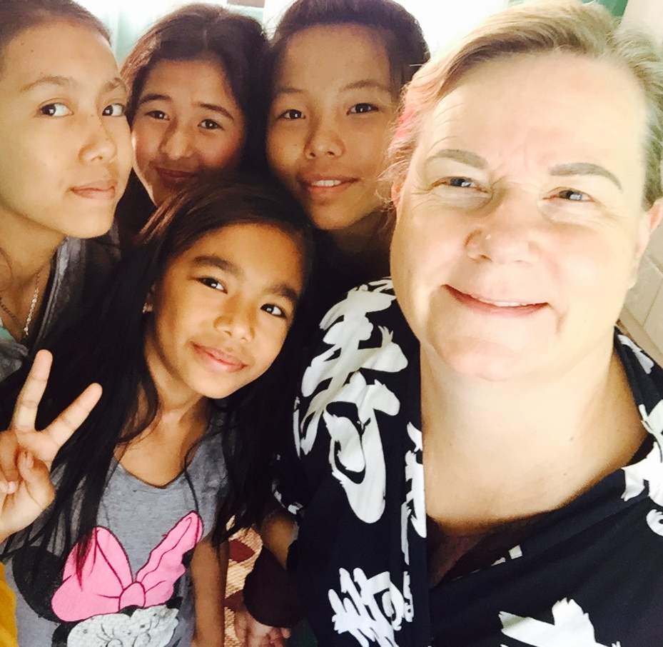 Eva Holmberg-Tedert with some of the Gokarna girls in one of the homes she founded in 2011.
