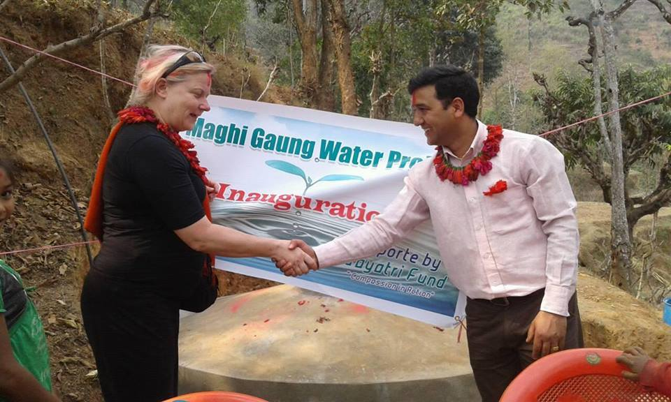 Eva at the inauguration of the water project.