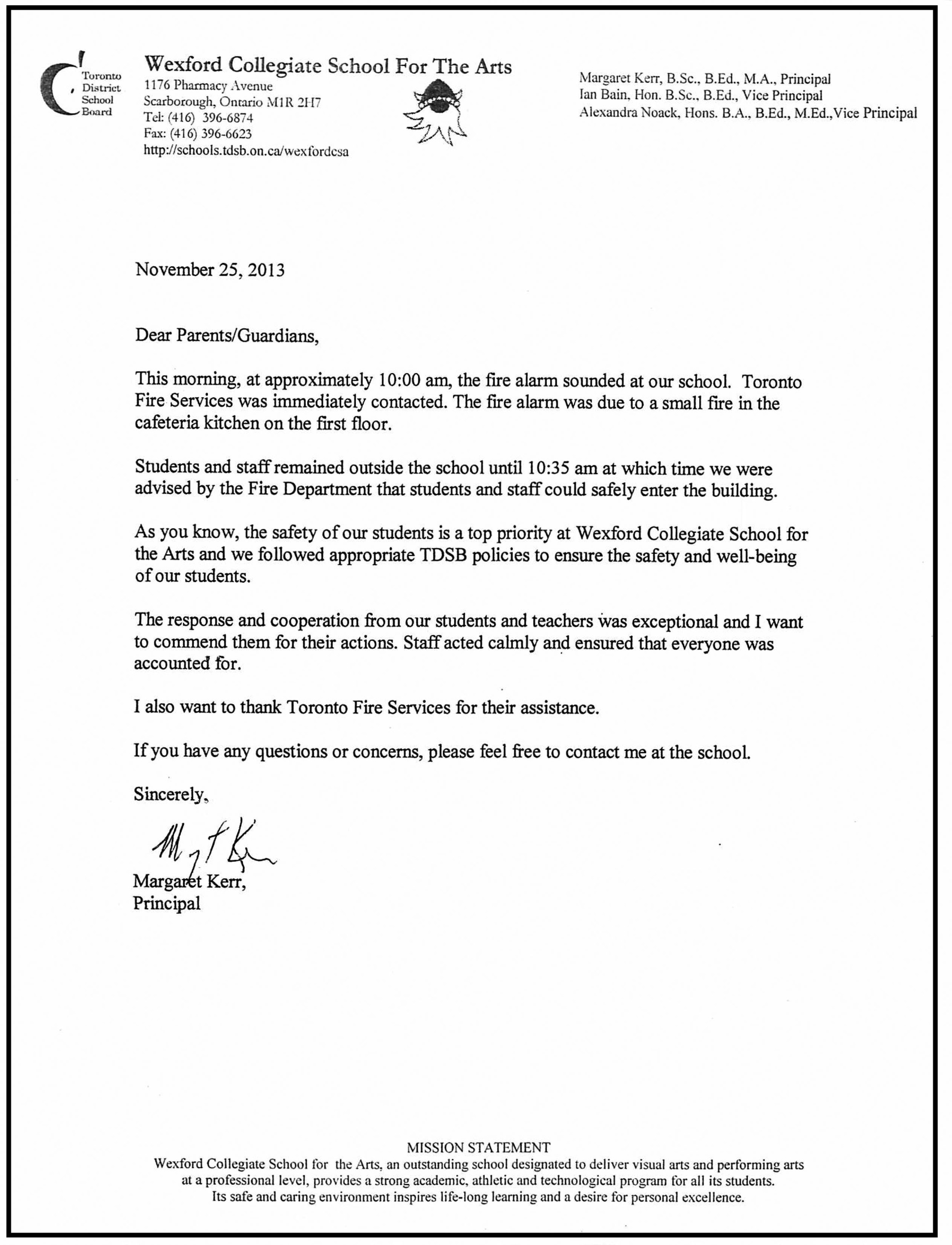 Wexford Letter from the Principal - Nov 25, 2013.jpg