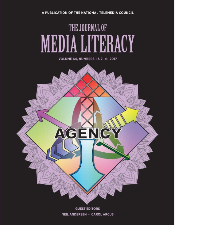 Mellia Bloomer's artwork graces the cover of  The Journal of Media Literacy Volume 64, Numbers 1 & 2 2017 .