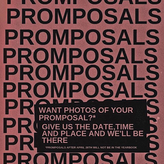 it's prom season! if you're planning on prom-posing to someone and want some photos, simply DM us the date, time and place and we'll send a yearbook photographer to capture the ~✨special moment✨~ just be sure to have your promposal taken before april 26th for it to be included in the yearbook!! p.s. we hope they say yes ;) 💌