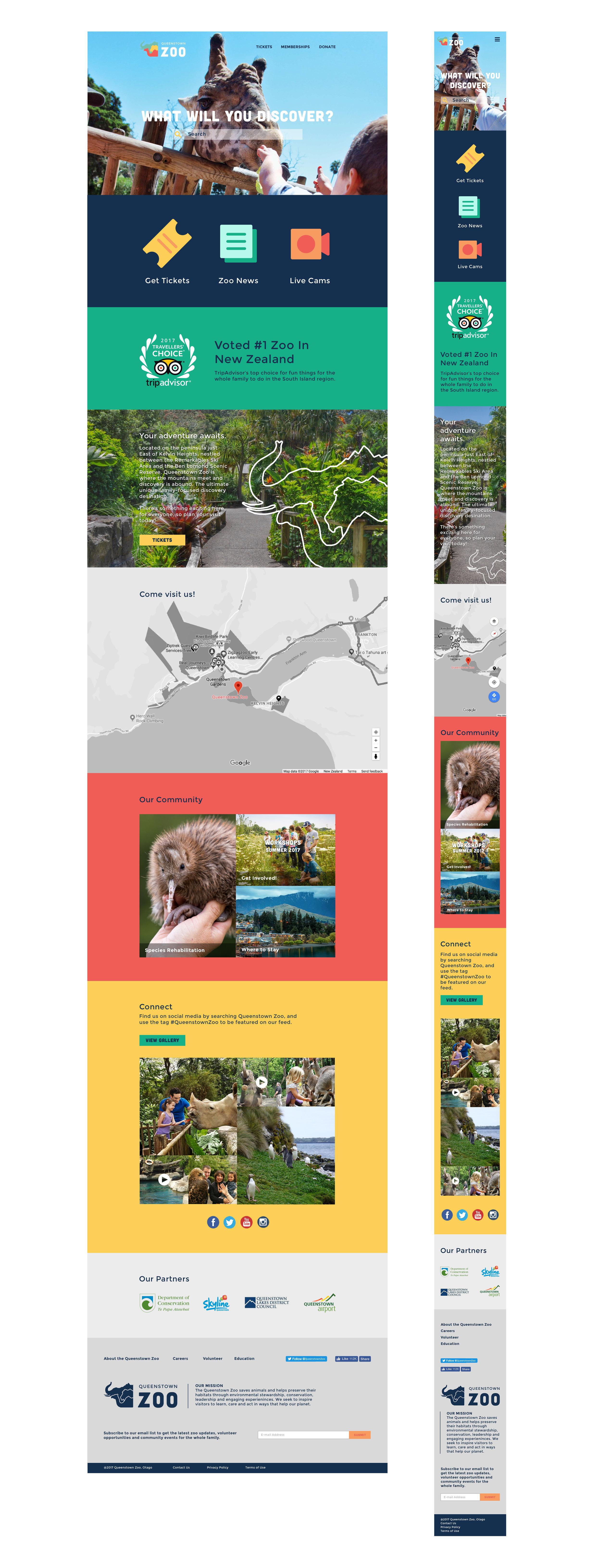 Responsive zoo website mockup