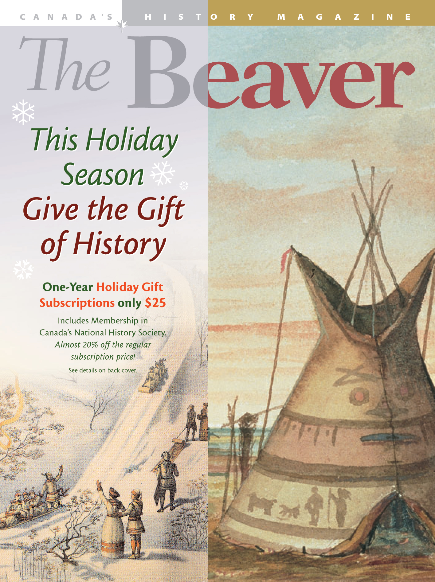 The 'over-cover' folded around the December issue of  The Beaver  offering a Christmas subscription discount