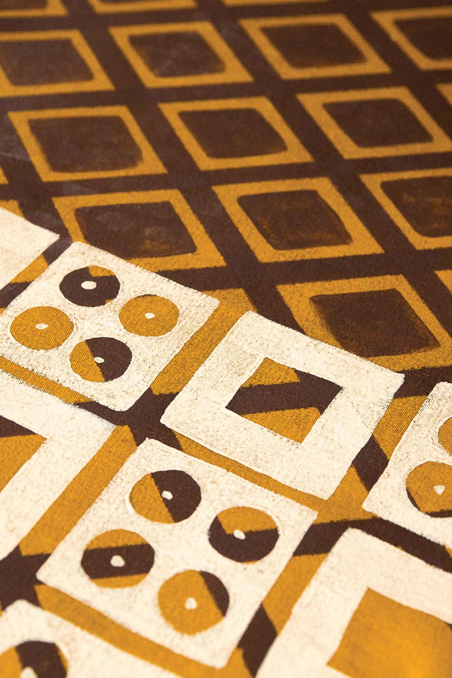 Detail of a historic Mennonite floor pattern.