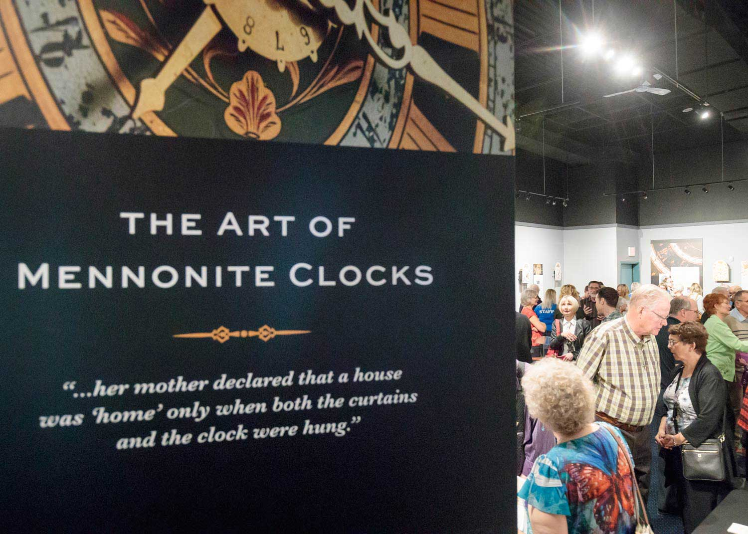 The exhibit opening attracted a large crowd including clock owners who generously loaned their clocks for the exhibit.
