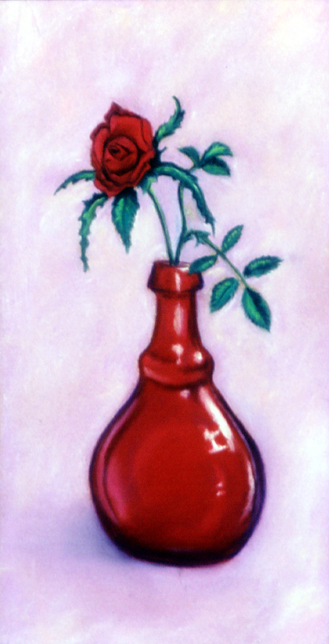 """Miniature Rose"" pastel, 5x11"""