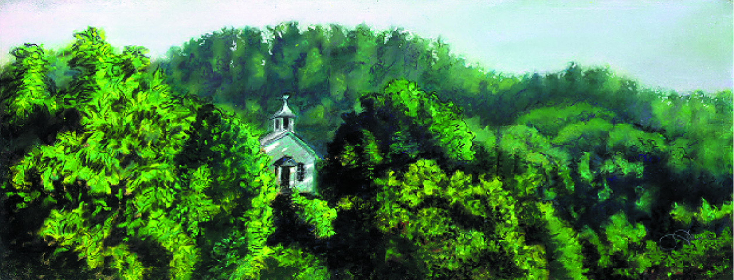 """""""Church on the Hill""""pastel, 12x5"""""""