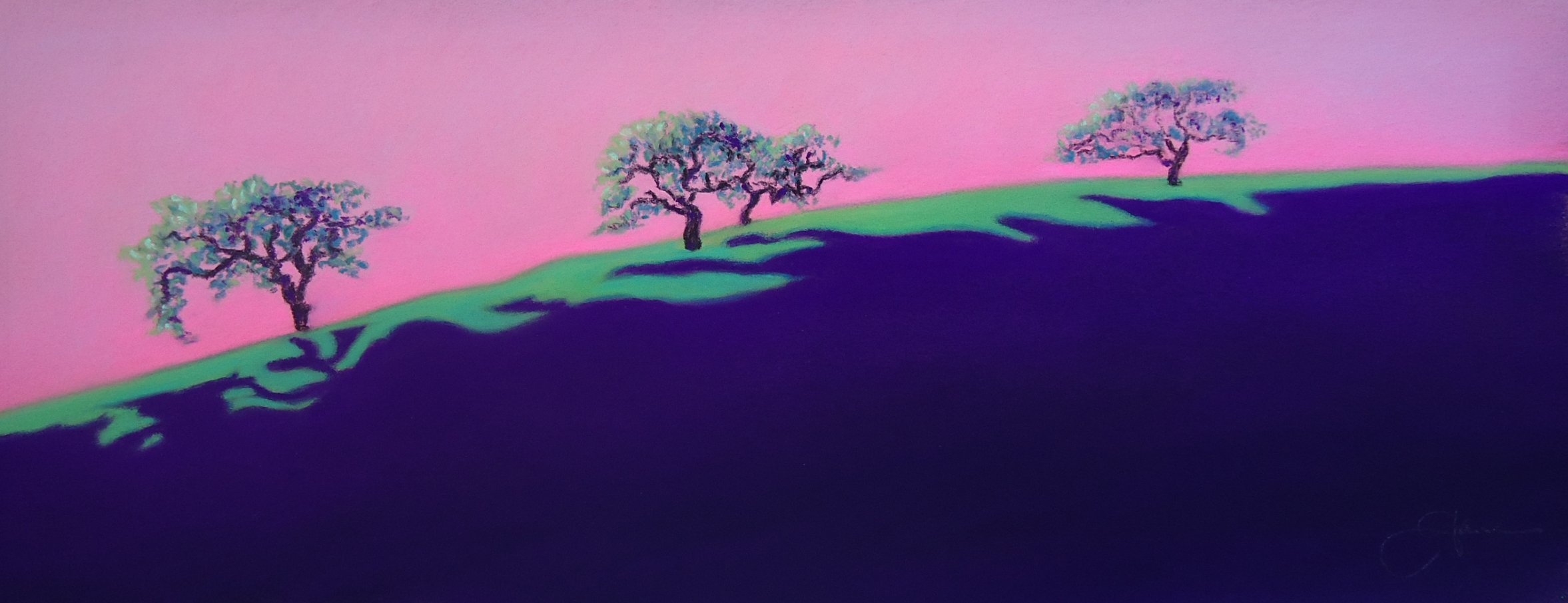 """""""Surreal Sunset""""pastel, 12x5""""  AVAILABLE / $275"""
