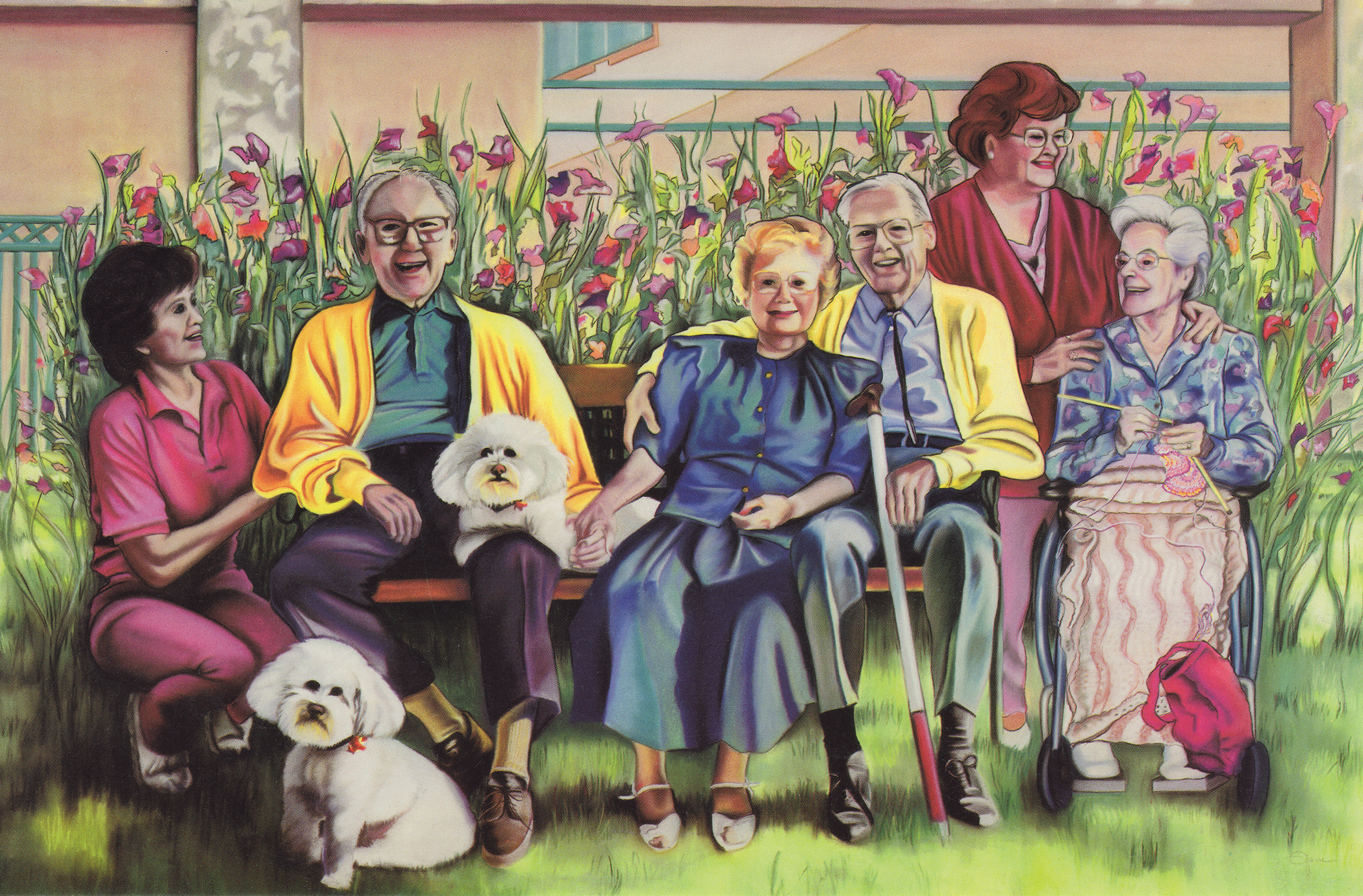 """""""Gathering of Friends""""p astel,  Scottsdale Village Square 20th Anniversary Commission, 7 2x52"""""""