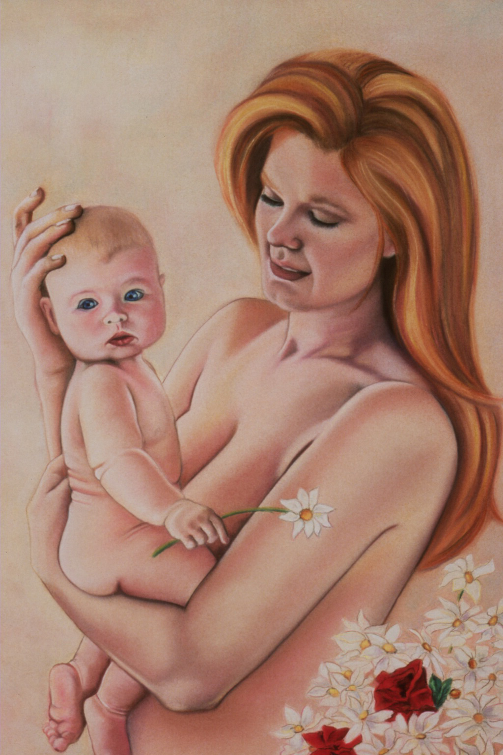 """""""Mother and Child""""pastel, 24x36"""""""