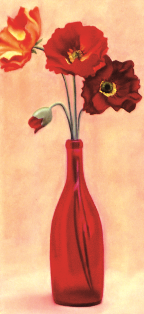 """Red Bottle"" Pastel, 10x24"""