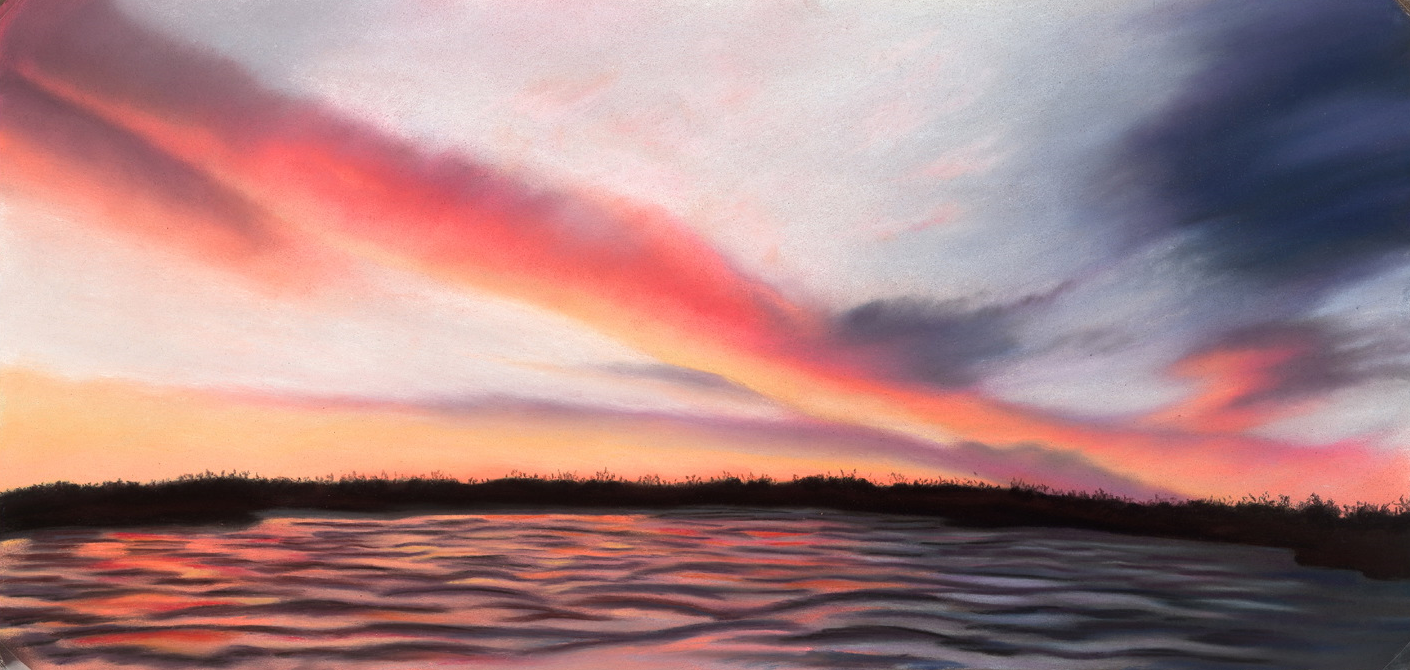 """Sunset on the Lake"" pastel, 9x19"""