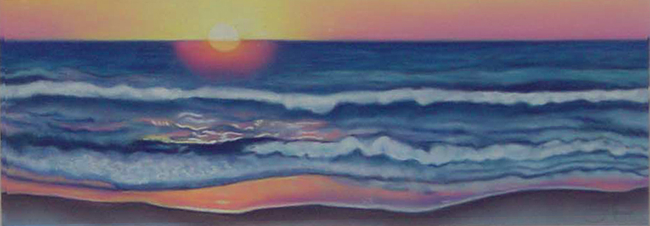 """""""Sunrise on the Water""""pastel, 12x5"""""""