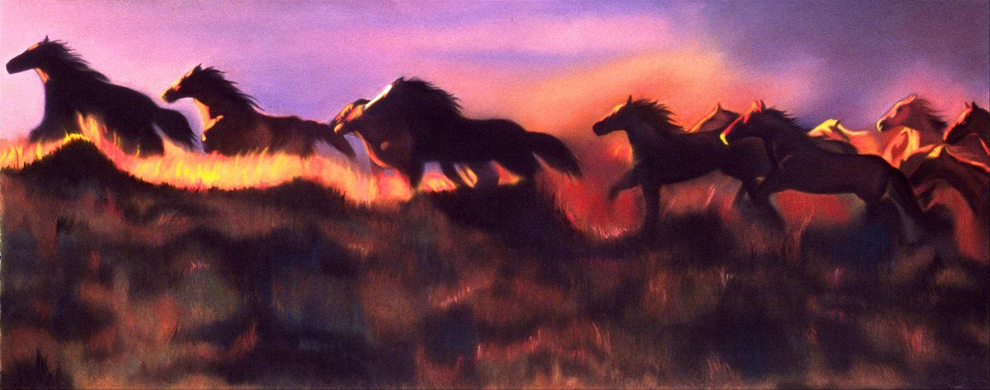 """""""Sunset Horses"""" pastel, 52x26"""""""