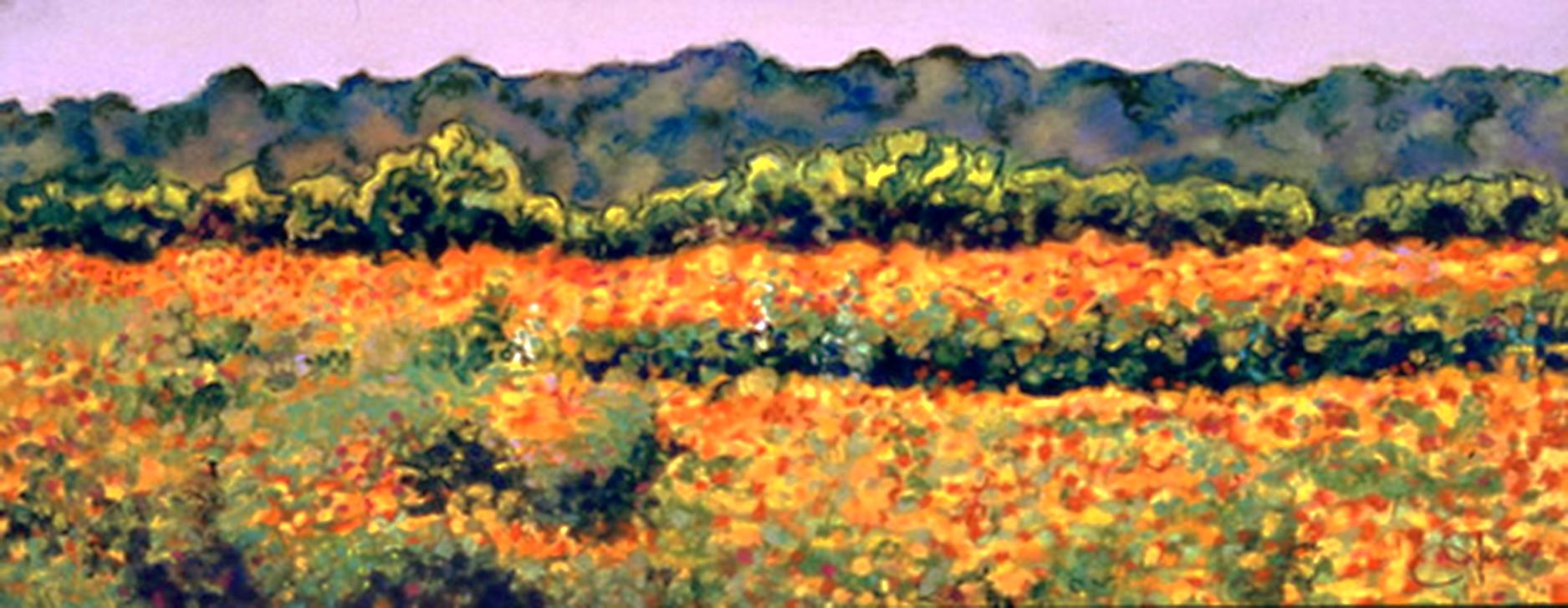 """Wildflowers""pastel, 12x5"""