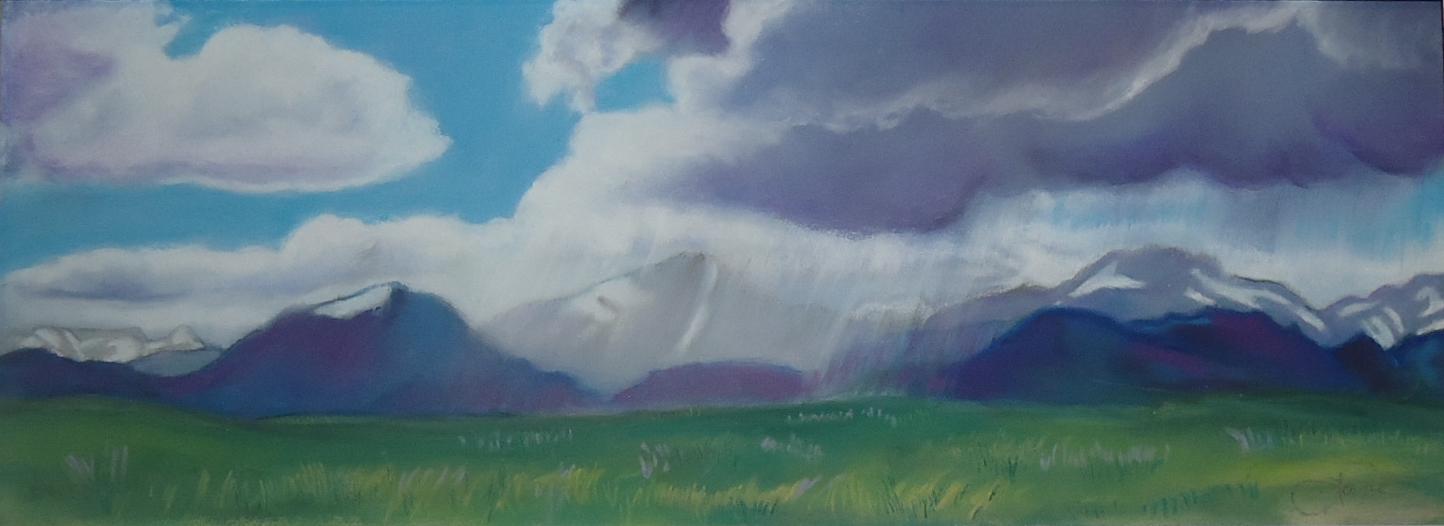 """Rain Across the Plain""pastel, 12x5""   AVAILABLE / $275"