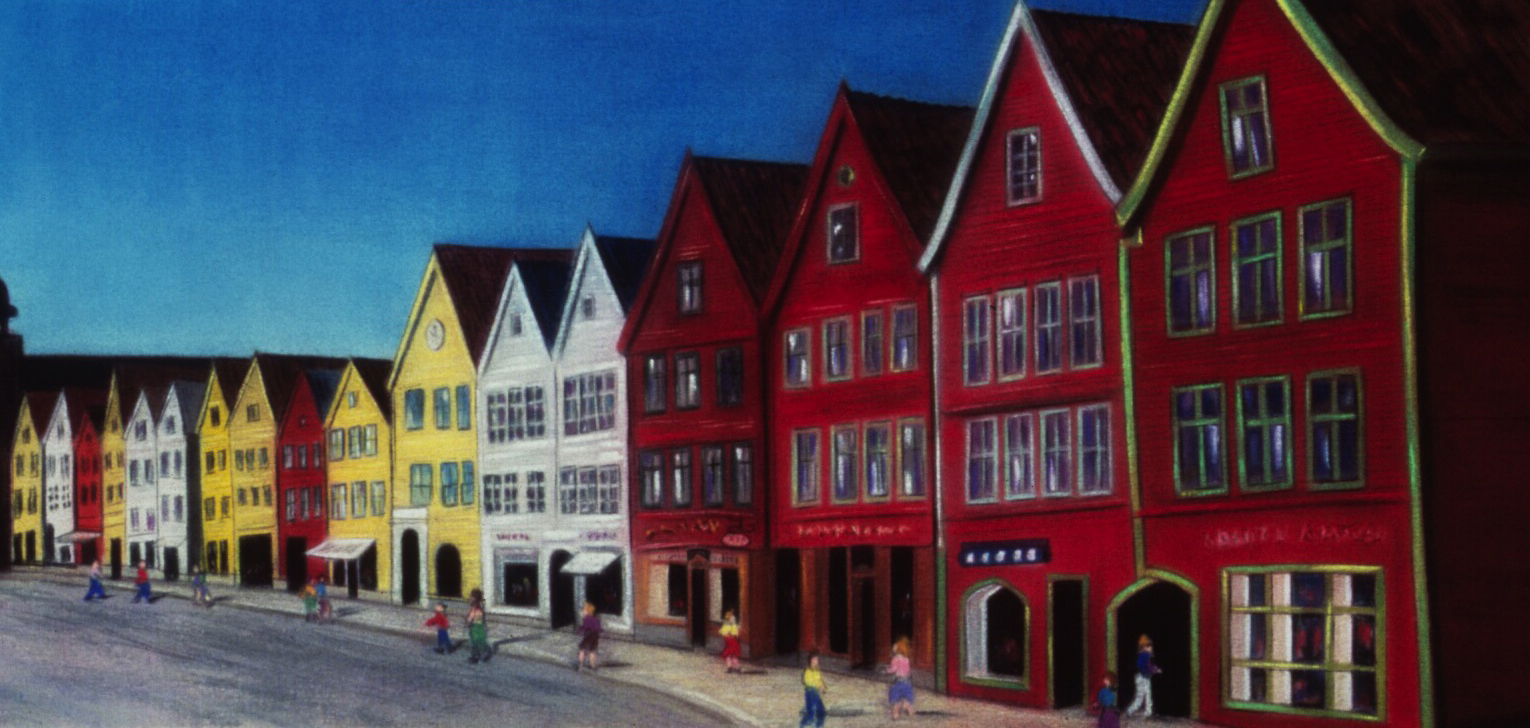 """Crooked Houses"" pastel, 26x52"""