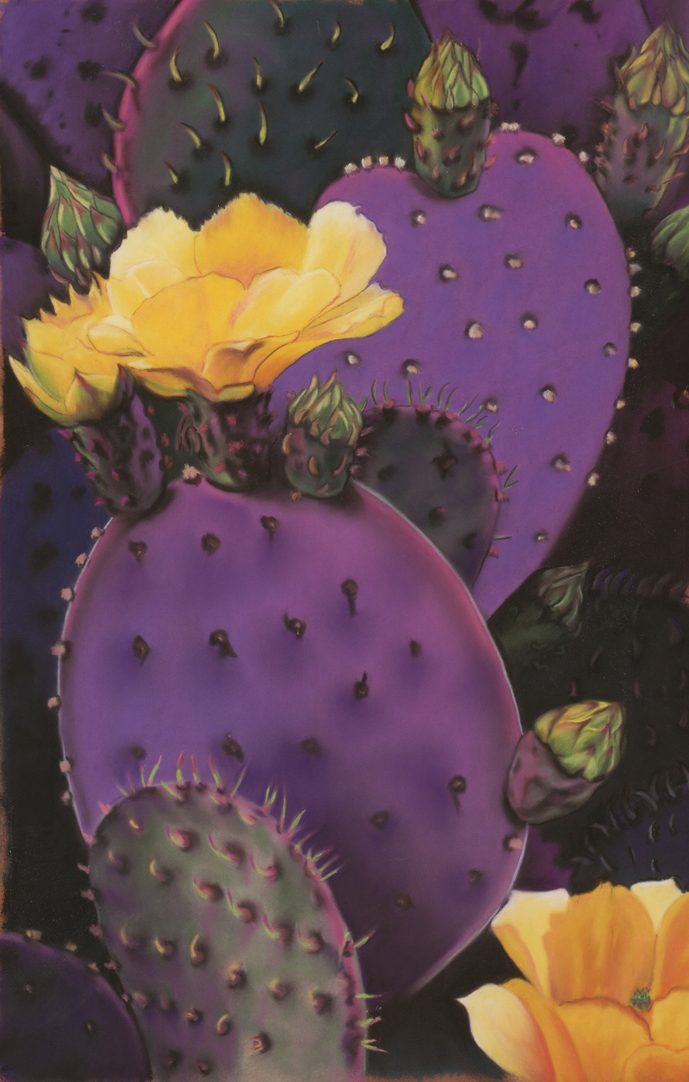 """Purple Prickly Pear"" pastel, 8x12"""