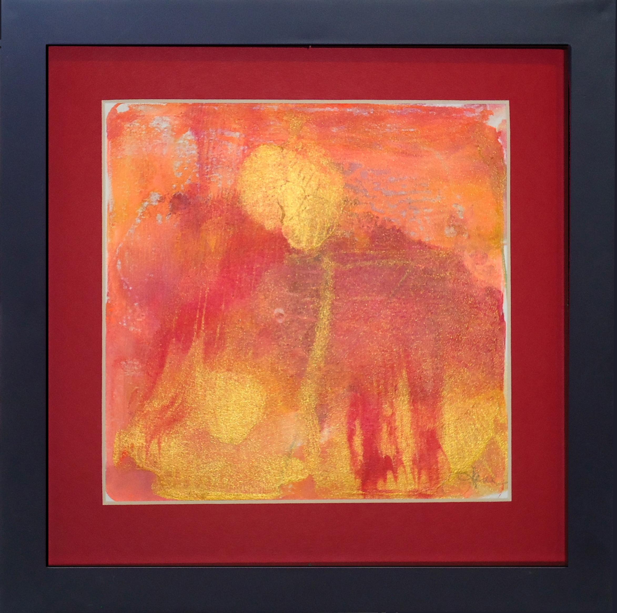 """""""Golden Flower in the Rain""""framed monoprint,  8""""x8""""   AVAILABLE / $75"""