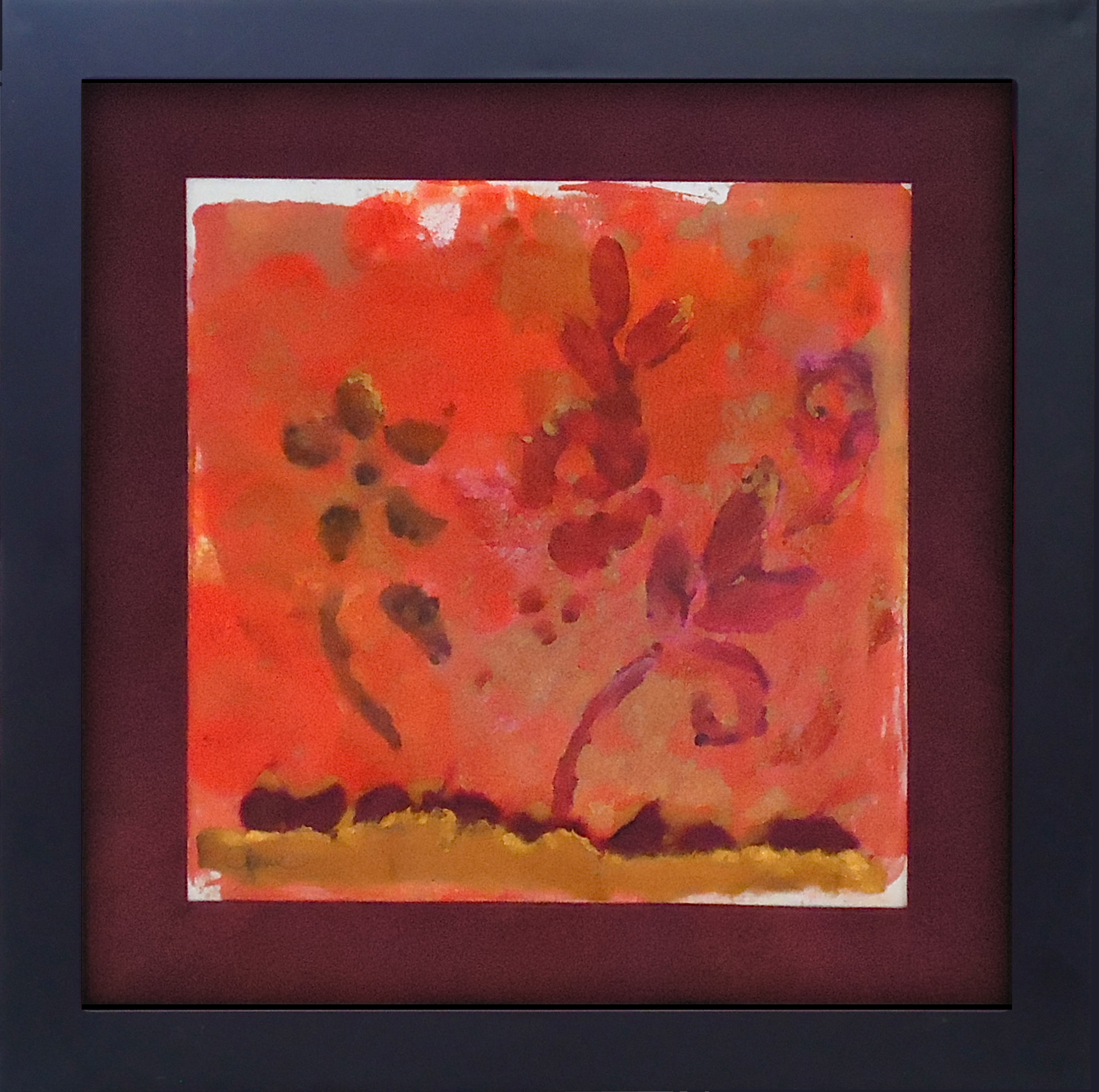 """""""Wildflowers""""framed monoprint, 8""""x8""""   AVAILABLE / $75"""