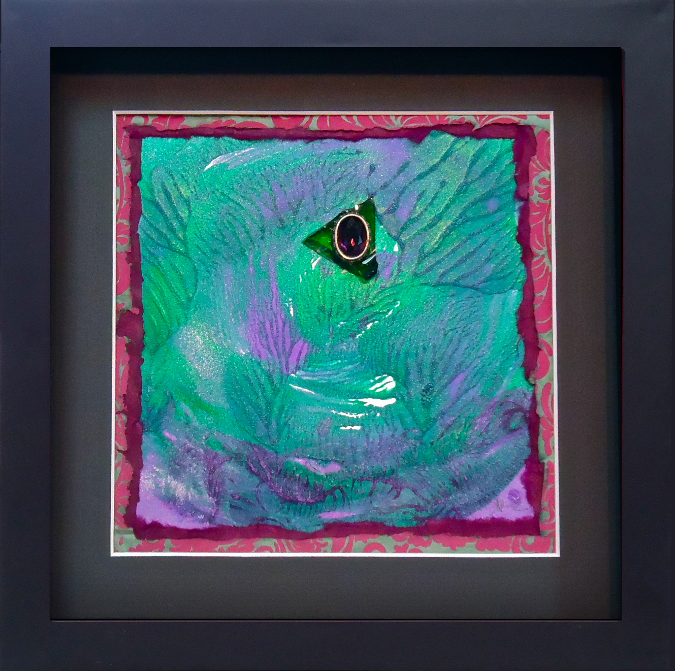 """""""Eye of the Storm""""framed monoprint, 8""""x8""""   AVAILABLE / $75"""