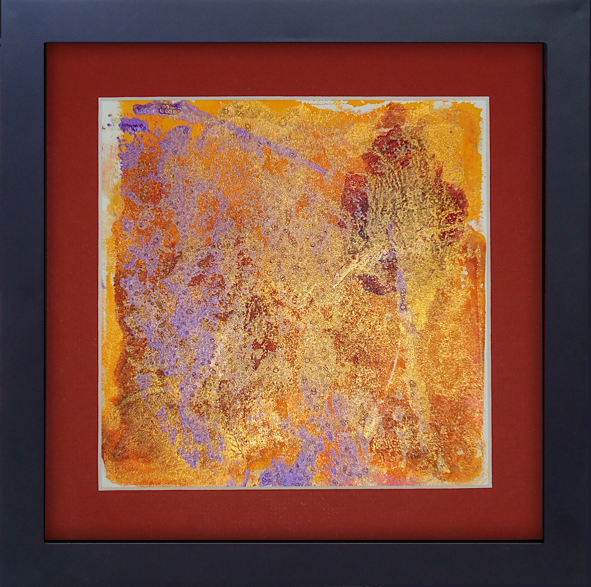 """""""Wipe Your Feet""""framed monoprint, 8""""x8""""   AVAILABLE / $75"""