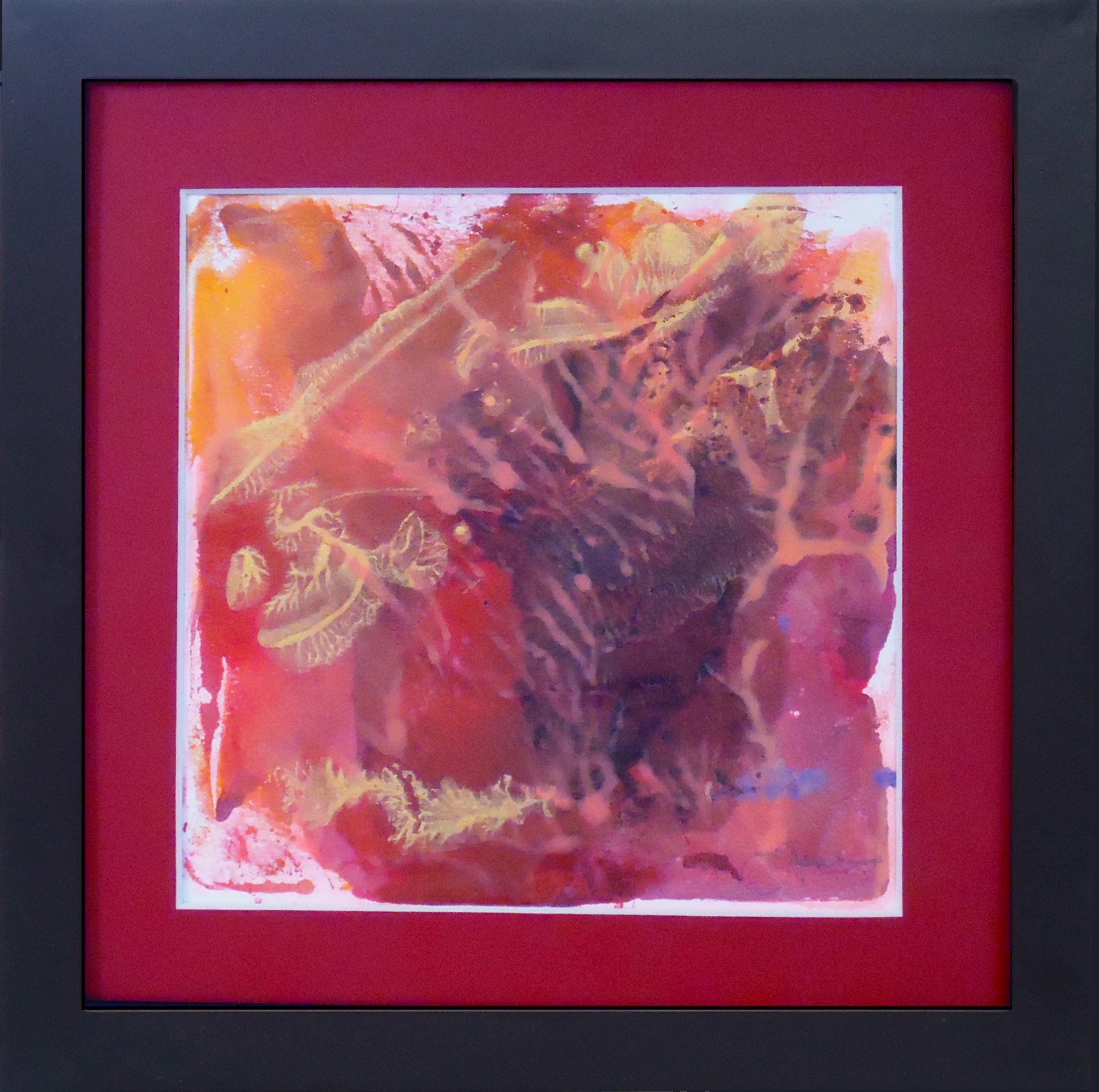 """Monsoon""framed monoprint,8""x8""   AVAILABLE / $75"