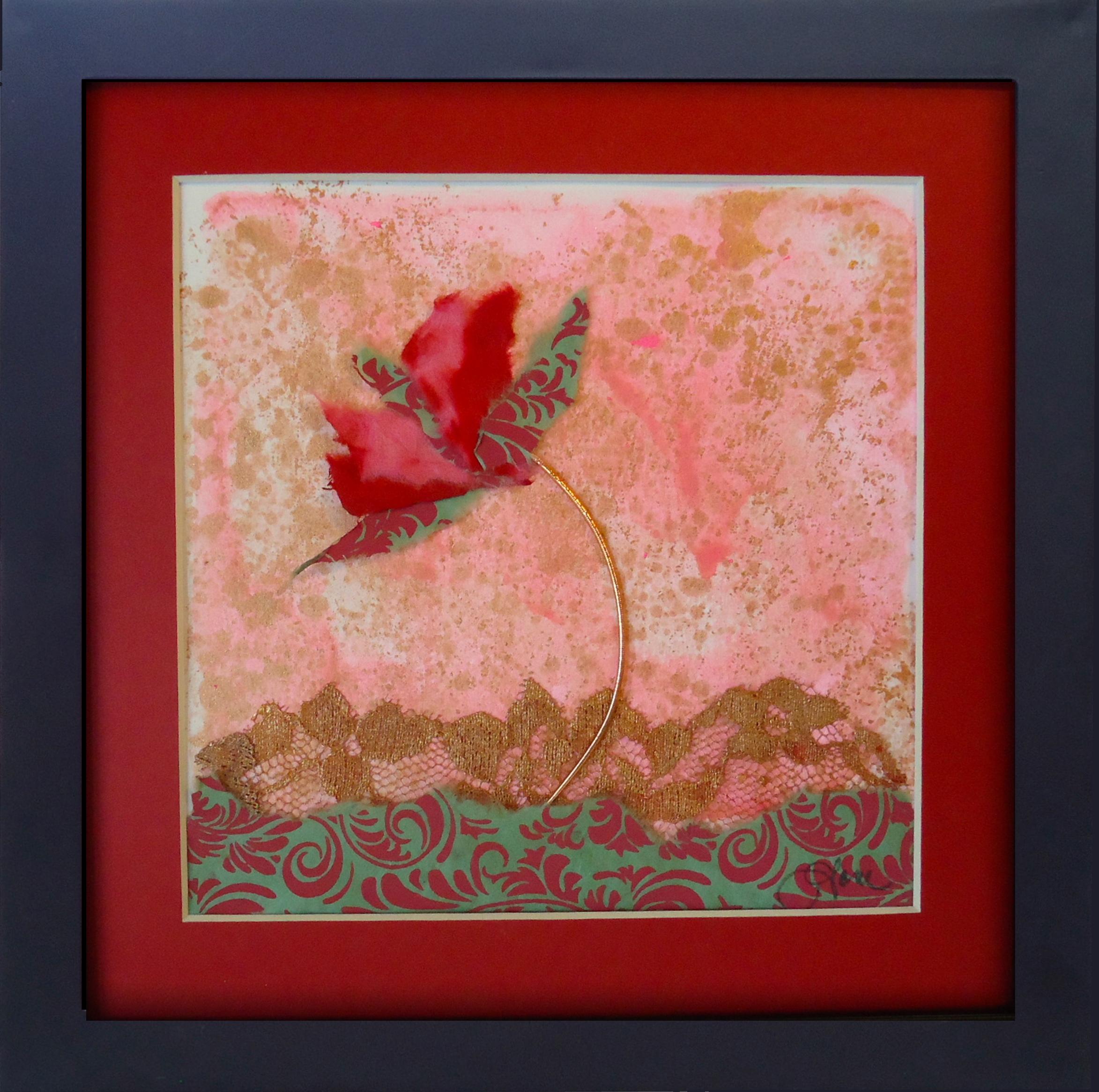 """""""Paper Rose""""framed monoprint, 8""""x8"""""""