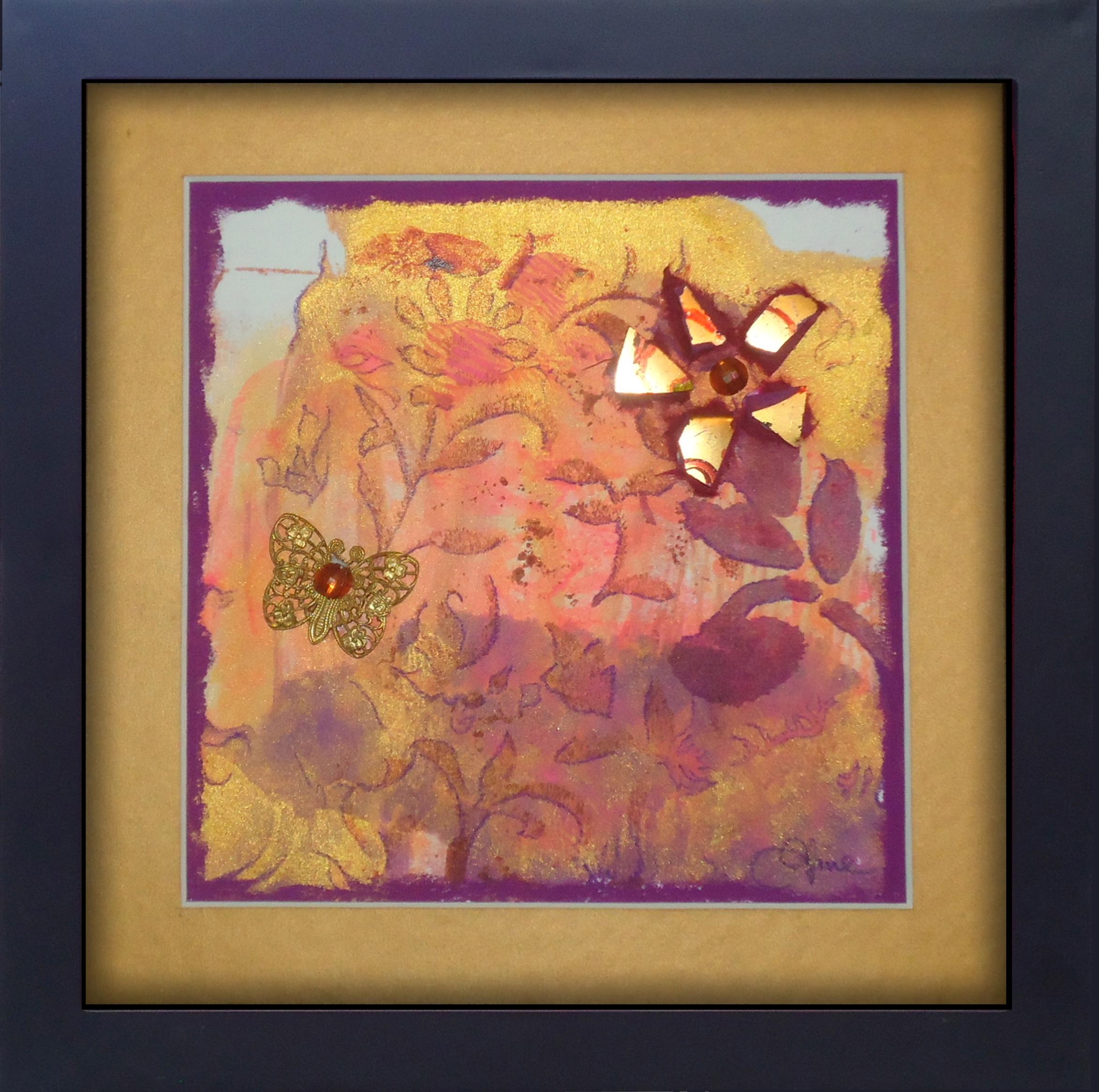 """Garden Bouquet"" framed monoprint, 8""x8""  AVAILABLE / $75"