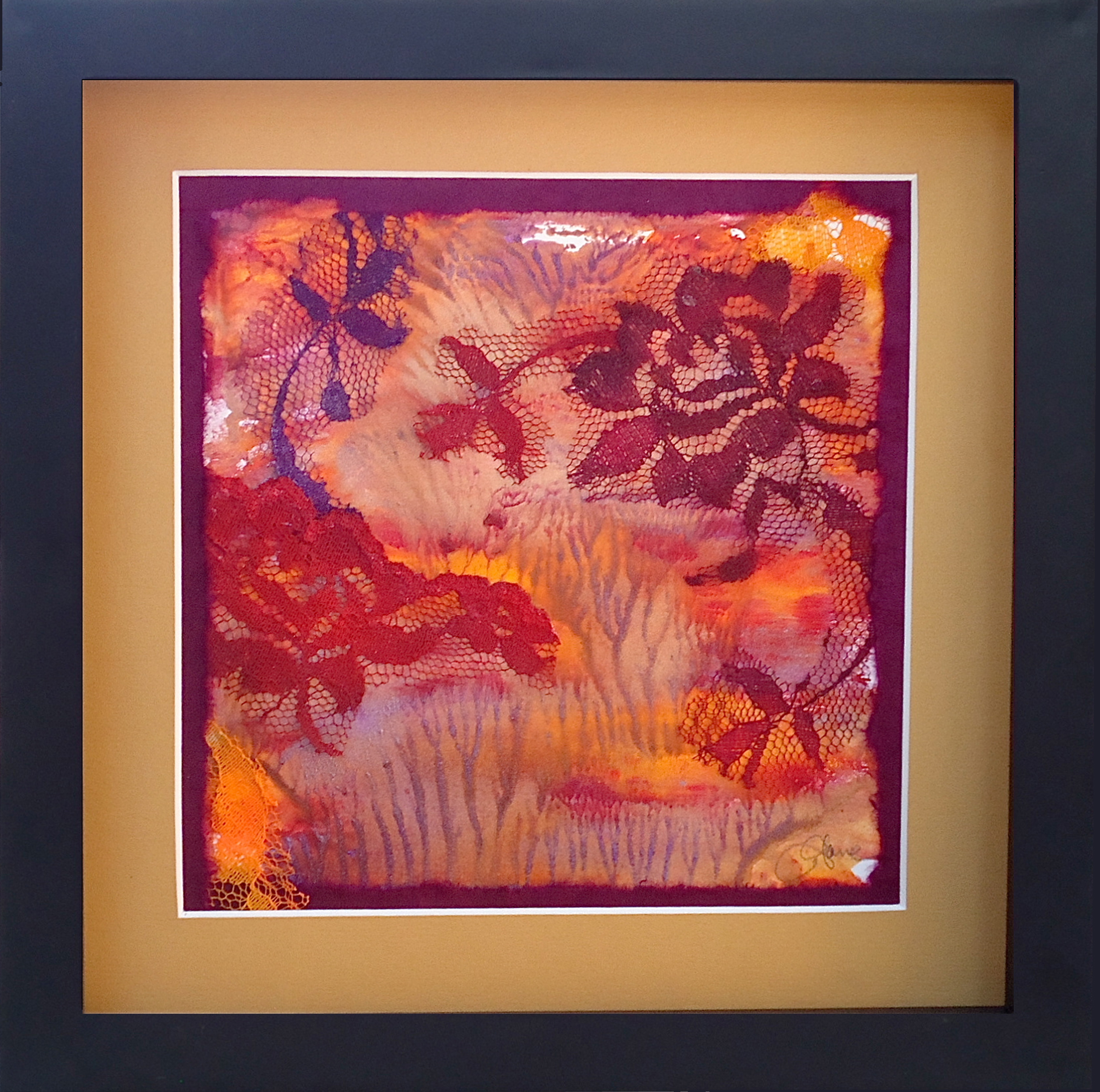 """Flowers Through the Trees"" framed monoprint, 8""x8"""