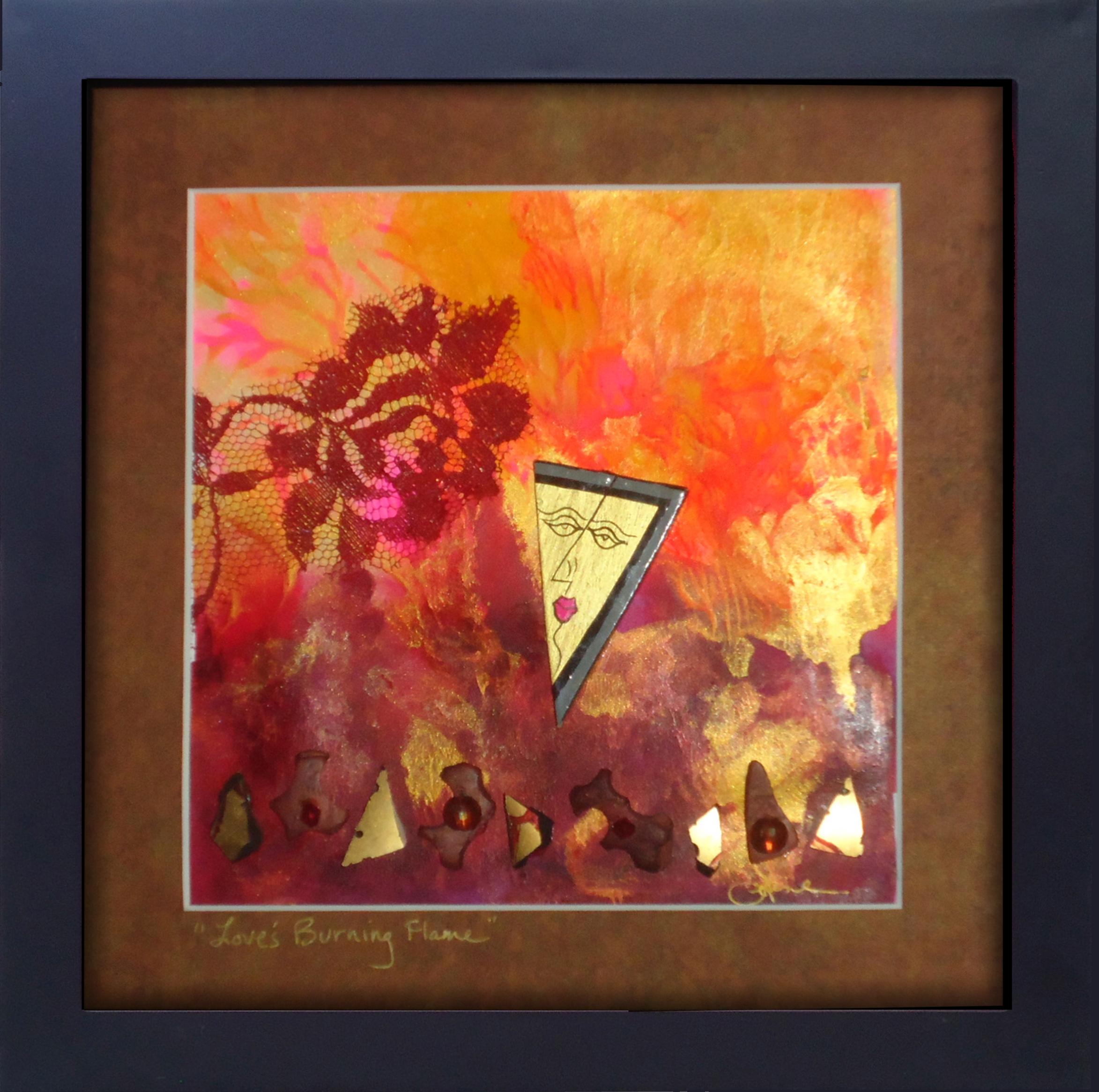 """""""Love's Burning Flame""""framed monoprint,   8""""x8"""""""